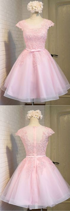 Pink Lace Short Tulle Homecoming Dresses Party Dresses with Cap Sleeves PG138