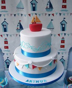 just the bottom layer, like the simplicity of bunting, and way it flicks out ever so slightly. Actually like the colour combo too Cupcakes, Cake Cookies, Cupcake Cakes, Christening Cake Boy, Boat Cake, Nautical Cake, Nautical Theme, Sea Cakes, Novelty Cakes