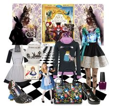 """Alice Wonderland"" by alice-durica ❤ liked on Polyvore featuring Disney, Irregular Choice, Mrs Moore, Zentique, Avenida Home, OPI, contestentry and DisneyAlice"