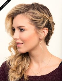 This beautiful braided hairstyle looks totally complicated, but it's actually fairly simple. Once you figure it out, you'll not only want to wear it at your wedding, you'll want to wear it everywhere. Get the tutorial at Makeup.com » - GoodHousekeeping.com