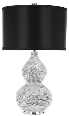 Nicole Bead Table Lamp In Silver With Black Shade (Set Of 2)