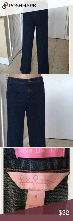 LILLY PULITZER Main Line Trouser Denim Jeans Sz 8 Label- Lilly Pulitzer Style-Main Line Flat front trouser pant, wide leg, classic rise, medium wash, side slash pockets, gold sticking, back slash pockets, 2 inch beltloops  Fabric-98% Cotton, 2%Lycra  Size-8 Measurements- Waist- 32, Hips- 40 Length-32, Rise -9.5                                                      Condition-Excellent Condition, lightly worn Origin-Siri Lanka USA Lilly Pulitzer Jeans Flare & Wide Leg