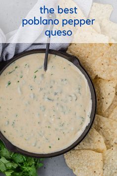 Creamy poblano queso dip, studded with flavorful roasted poblano peppers, is pleasantly spicy but not fiery. Enjoy it as a dip or a topping for tacos or nachos. Roasted Poblano Peppers, Stuffed Poblano Peppers, Stuffed Poblanos, Dip Recipes, Mexican Food Recipes, Cooking Recipes, Spanish Recipes, French Recipes, Crispy Sweet Potato