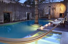 Hacienda Huayamon en Campeche, Mexico. i would plant roses and citrus trees around the pool.