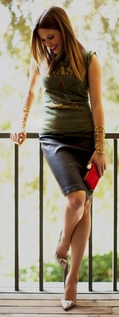 band t-shirt, leather pencil skirt, snakeskin pumps, gladiator cuffs...