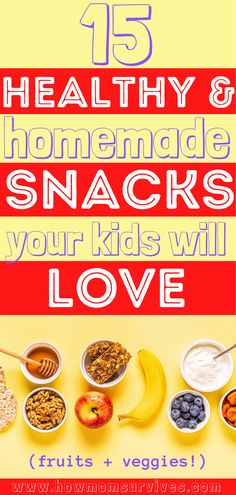 These 15 homemade snacks for kids are fun to make and good for them! Even the picky eaters will love them! #snacksforkids #momlifehacks #vegetablesnacksforkids