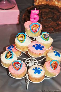 Paw patrol cupcake for girls. Pink white, blue paw print, printable cake topper of characters on cupcake stand display Kids Party Themes, Birthday Party Themes, Party Ideas, Party Fun, Birthday Cakes, 2nd Birthday, Baby Shower Cupcakes, Yummy Cupcakes, Paw Patrol Cupcakes