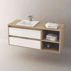 meuble de salle de bain cambrian 120 cm suspendu personnalisable pour vasque encastrable