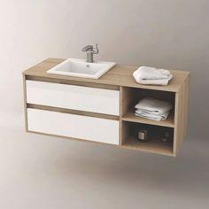 Meuble de salle de bain Cambrian 120 cm suspendu, personnalisable, pour vasque encastrable, TropCoul