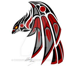 Raven by MonkeydanceGuy on DeviantArtYou can find Haida art and more on our website.Raven by MonkeydanceGuy on DeviantArt Native American Tattoos, Native Tattoos, Native American Symbols, Native American Design, American Indian Art, Viking Tattoos, Haida Kunst, Haida Art, Haida Tattoo