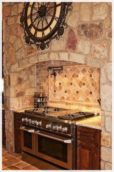 Mediterranean Kitchen Photos Design Ideas, Pictures, Remodel, and Decor - page 11 Stone Kitchen, Kitchen Stove, Kitchen Flooring, Kitchen Countertops, Layout Design, Design Ideas, Log Home Decorating, Decorating Ideas, Rustic Kitchen Design