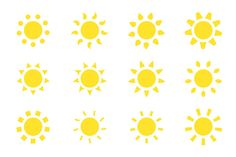 Vector sun icons set. by ExpressShop on @creativemarket