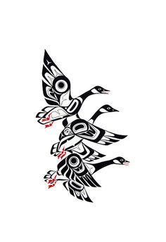 Native american symbols/haida/tsimshiam/tlingit/haisla art/salish/coastal a Native American Animals, Native American Symbols, Native American Patterns, Doodles Zentangles, Tatouage Haida, Goose Tattoo, Kunst Der Aborigines, Canadian Art, Canadian People