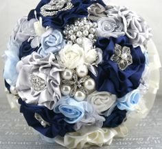 Brooch Bouquet in Navy Blue, Ivory, Silver and Powder Blue with Handmade Flowers- Something Blue