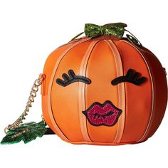 Betsey Johnson Pumpkin Kitch Crossbody ($98) ❤ liked on Polyvore featuring bags, handbags, shoulder bags, cross-body handbag, crossbody purse, red shoulder bag, red crossbody purse and betsey johnson