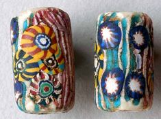 Antique Venetian glass beads, circa late 1800's, early 1900's.