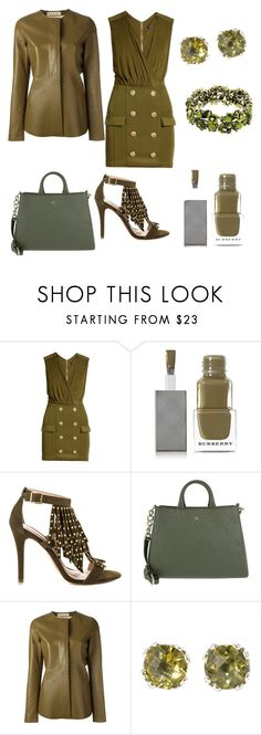 """""""khaki green"""" by shannongarner ❤ liked on Polyvore featuring Balmain, Burberry, ALDO, Etienne Aigner, Marni and Samuel B."""