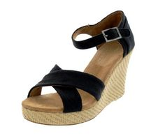 TOMS Women's Strappy Wedges Canvas Sandal  Toms wedges are great! and now they come in so many more colors! - Gretchelle Quiambao