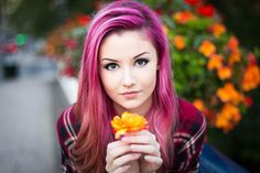 Pink Hairs Girl Portrait Beautiful Eyes