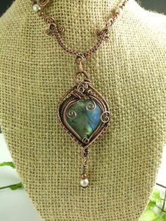 Labradorite Heart Shaped Pendant Wire Wrap Copper Patina - Thumbnail 2