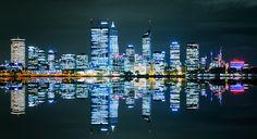 Kunstwerk: 'Perth Skyline' van Guy Florack Perth, Men's Vans, New York Skyline, Poster, Guys, Canvas, Travel, Drawings, Products