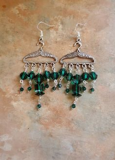 Adorable Green Swarovski Crystal Clothes Hanger Earrings by WolfMountainJewelry on Etsy  16.00