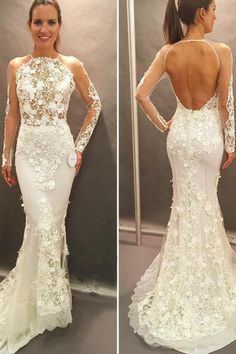 Long Sleeves Bridal Dress,Lace Appliques Wedding Gowns,Open