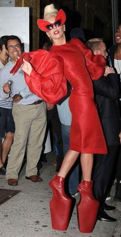 Lady Gaga Wears Red McQueen Platform Heels