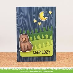 Lawn Fawn - Love You S'more + coordinating dies, Forest Border, Stitched Journaling Card, Argyle Backdrops, Navy Notecard _ card by Chari for Lawn Fawn Design Team