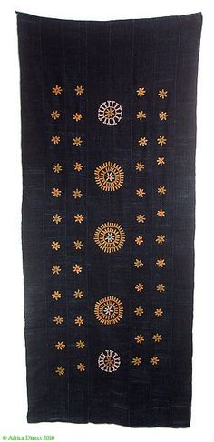 Africa | Wodaabe Embroidered Indigo-Dyed Cotton Scarf | This textile comes from the Wodaabe people also known as pastoral Fulani or Bororo ~  northern Nigeria and Southwestern Niger. | 20th century: