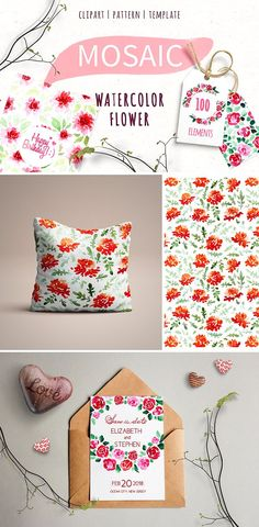 MOSAIC 100 watercolor flower element by Veronika S. on @creativemarket