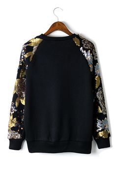 Sequins Floral Leaf Sleeves Epic Top Sweater