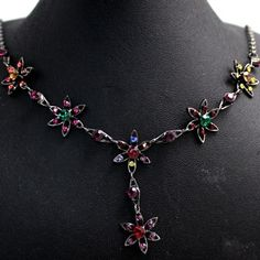 Colourful / Multi-colour Crystal Flowers With Cladding Gun Necklace Set NS20A
