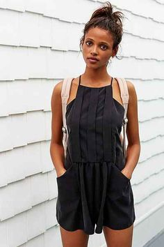 Kimchi Blue Alex Front-Pleat Romper - Urban Outfitters