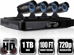 Night Owl - 8-Channel, 4-Camera Indoor/Outdoor High-Definition DVR Security…
