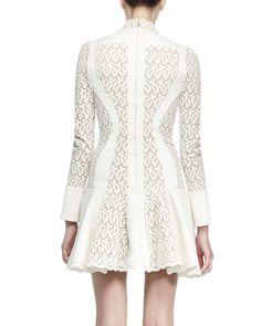 Paneled Lace Flared Dress