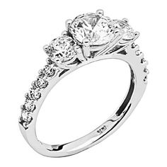 Wellingsale Ladies Solid 14k White Gold Polished CZ Cubic Zirconia Round Cut Three 3 Stone Engagement Ring with Side Stones and Wedding Band, 2 Piece Matching Bridal Set