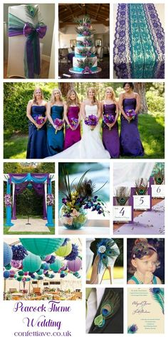 Peacock Theme Wedding | Mood Board http://confettiave.co.uk/peacock-theme-wedding