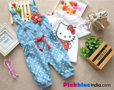 Shop online in India the stylish denim jumpsuit with white polka dots on the lowers. The bunny inspired jumpsuit has a print of bunny face on the front with polka dots ears and a pink heart at the back.