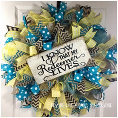 A personal favorite from my Etsy shop https://www.etsy.com/listing/581759608/easter-wreath-easter-mesh-wreath-teal