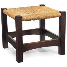 "Gustav Stickley (1858-1942) - Footstool, #728. Quartersawn Oak with New Rush Seat. Circa 1900. 17"" x 18-1/2"" x 18-1/2""."