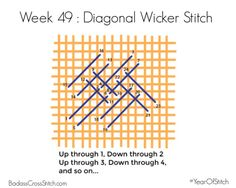 week 49 of the #YearOfStitch diagonal wicker stitch embroidery tutorial