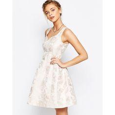 Coast Bridget Jacquard Fit n Flare Dress in Pink ($187) ❤ liked on Polyvore featuring dresses, pink, tall dresses, white dress, a line dress, coast dresses and jacquard dress