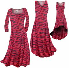 Customize Red & Black Zebra Stripes With Dots Slinky Print Plus Size & Supersize Standard or Cascading A-Line or Princess Cut Dresses & Shirts, Jackets, Pants, Palazzo's or Skirts Lg to 9x
