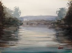 ARTFINDER: River view by Tihomir Cirkvencic - River Krka is a beautiful river in Slovenia. Couldn't resist to paint it...  Signed on the front. Unique and one of a kind.  All my paintings are careful...