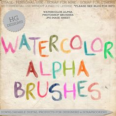 free watercolor alphas perfect for digital art journaling and scrapbooking from HG Designs