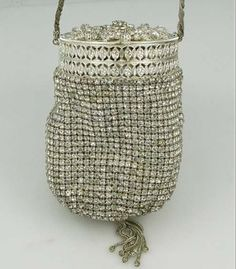 Vintage handbag in bucket style decorated w' rhinestones & silver lid/top - lovely♥❦♥