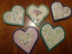 Mosaic hearts made from cups broken in earthquake