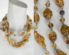 Vintage 50s Necklace / 1950s Amber Art Glass Beaded Multi Strand Statement Necklace by FloriaVintage on Etsy