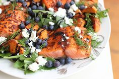 Broiled Sockeye Salmon Salad With Blueberries And Sweet Potatoes